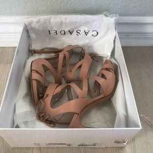 CASADEI Nude Strappy Back-Tie Sandal Heels Sz 6.5